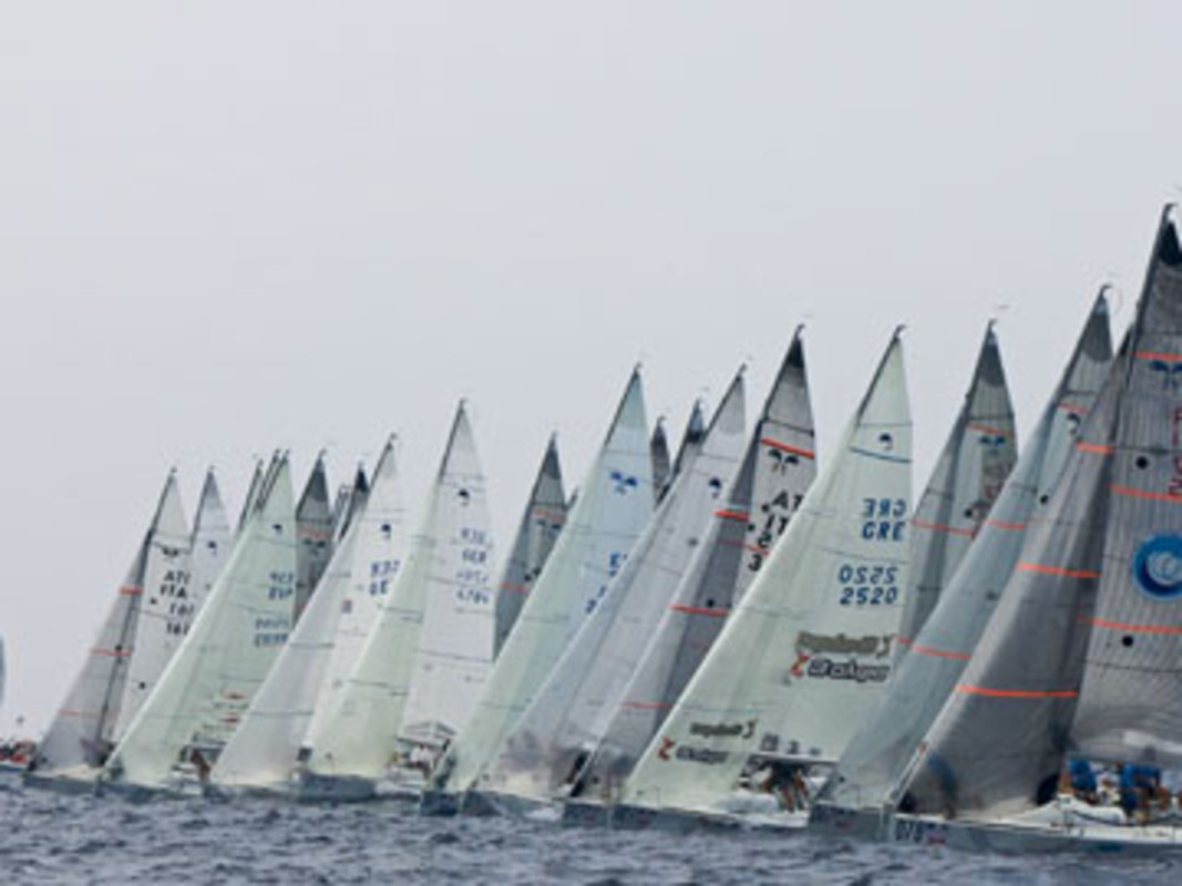 The Platu 25 fleet competing in Punta Ala