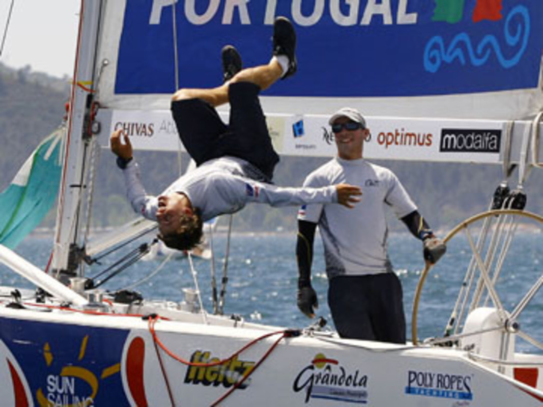 A jubilent Torvar MIRSKY celebrates his first Tour win at Troia Portugal Match Cup