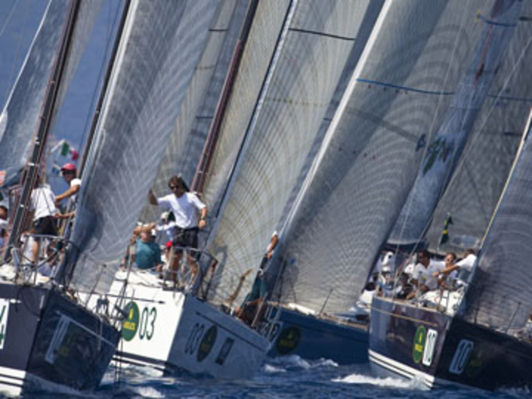 The Swan 45 fleet in action at Cala Galera