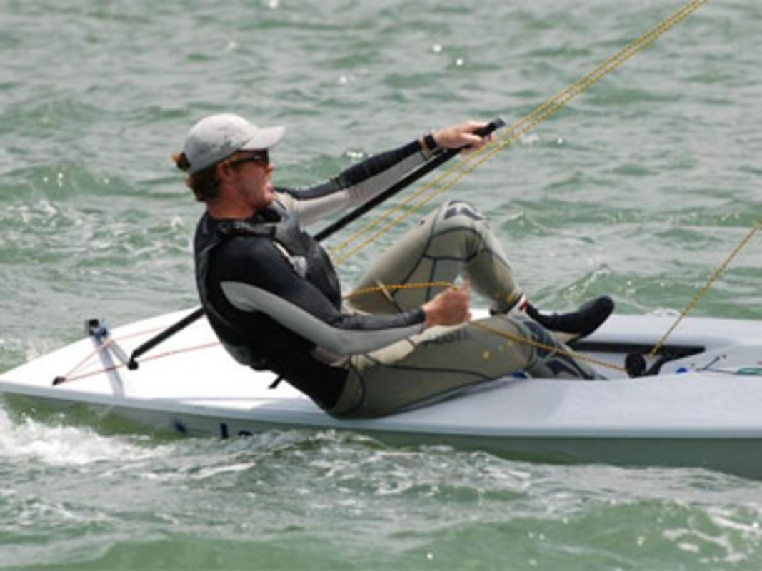 Tom Slingsby leads the Laser fleet after day one in Brisbane