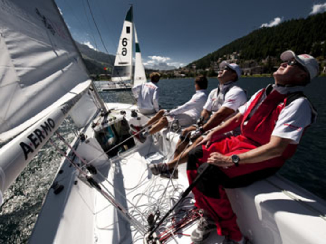 Peter Gilmour and his YANMAR Racing team practice on Lake St Moritz