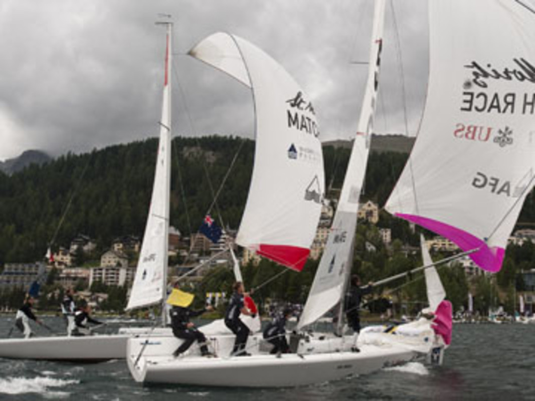 Action from the round robin stage on Lake St Moritz