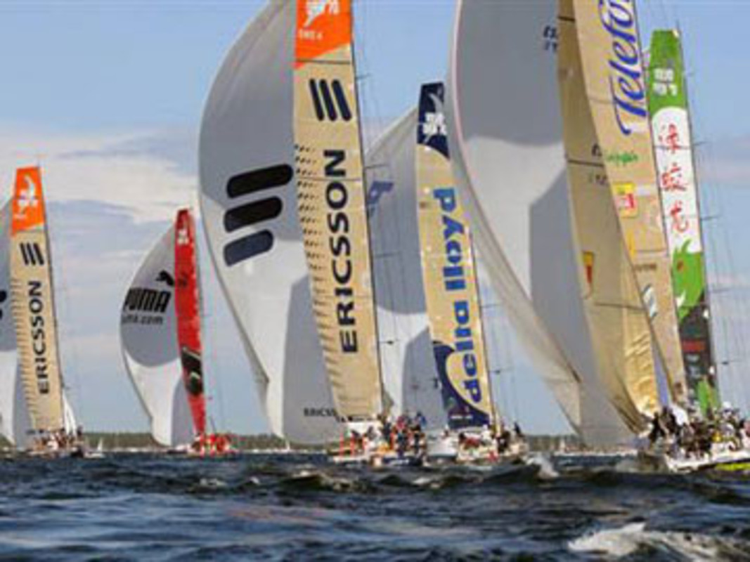 The fleet head downwind at the Stockholm In-Port Race