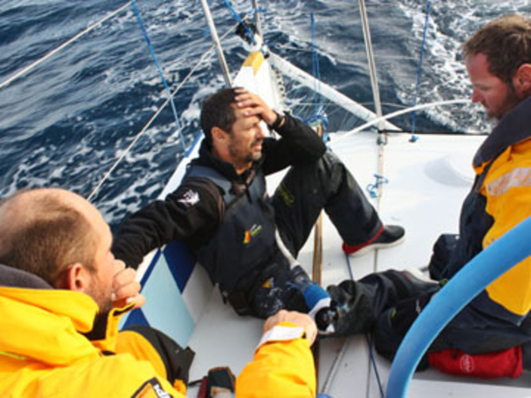 Disappointment shows among the crew as Telefonica Blue suffered a cruel blow with a broken forestay