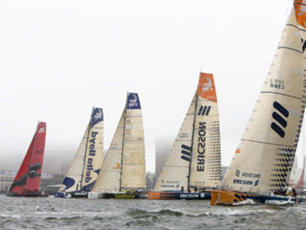 Action from the start of leg seven