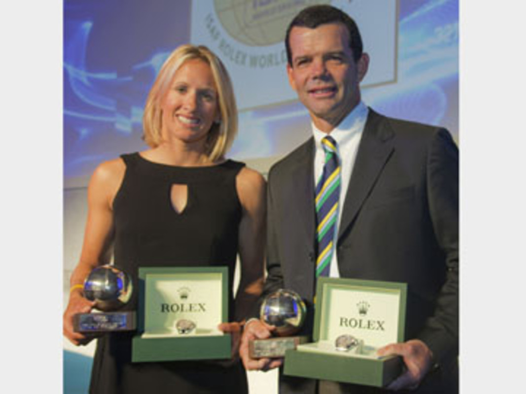 Anna Tunnicliffe and Torben Grael, the 2009 ISAF Rolex World Sailor of the Year