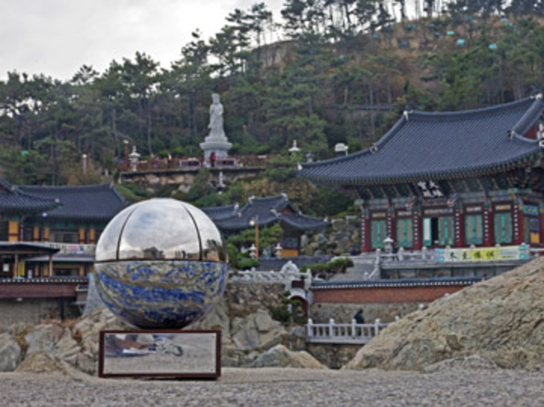 The ISAF Rolex World Sailor of the Year Awards Trophy on location in Busan at the Haedong Yunggungsa Temple in Busan