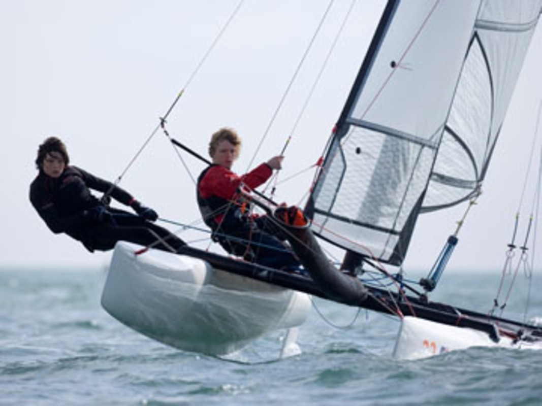 Adam BUTLER and Gilly SUTCLIFFE sailed to RYA Youth National catamaran gold at Pwllheli in 2008