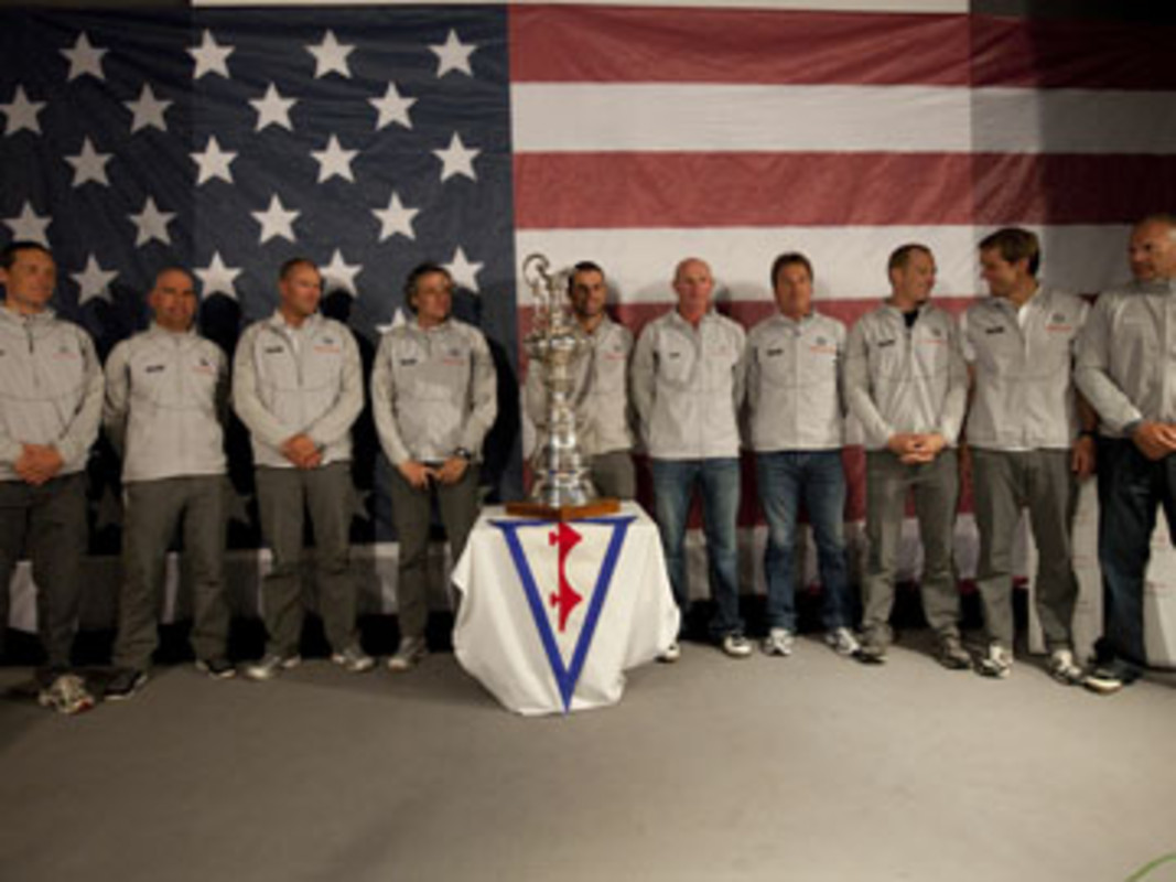 The BMW ORACLE Racing Team pose with the America's Cup