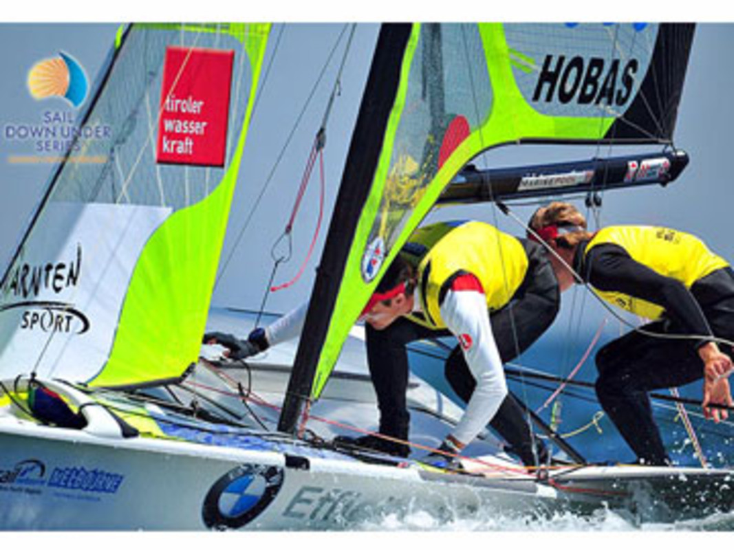 Nico Delle - karth and Nikolaus Resch lead the 49er fleet at Sail Melbourne 2010