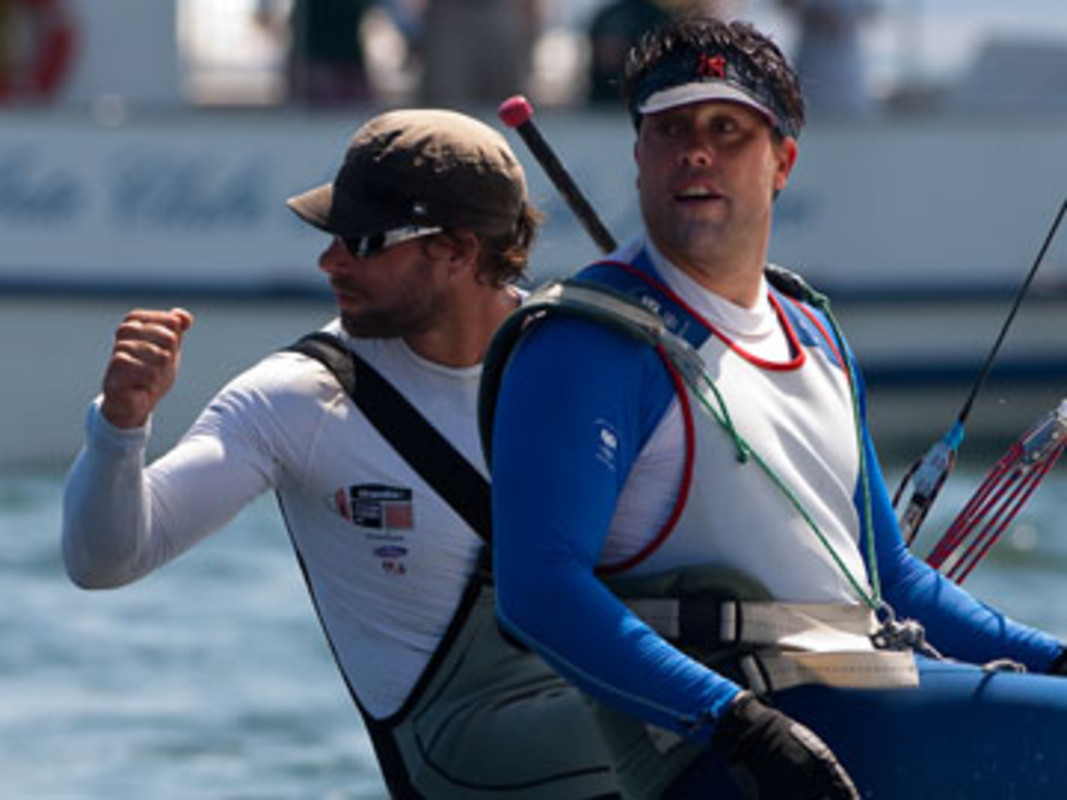 Iain Percy and Andrew Simpson celebrate their win in race four