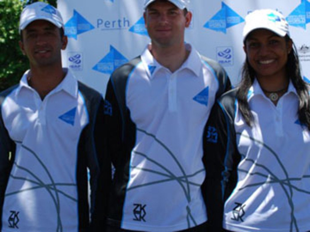 Perth 2011 ENP athletes (L-R) Qasim Abbas, of Pakistan, Dany Stanisic, of Serbia and Rohini Rau, of India, at the WACA Ground