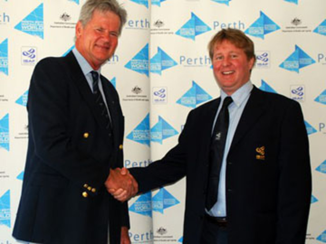 Perth 2011 Event Director John Longley (l) and ISAF Events Manager Alastair Fox