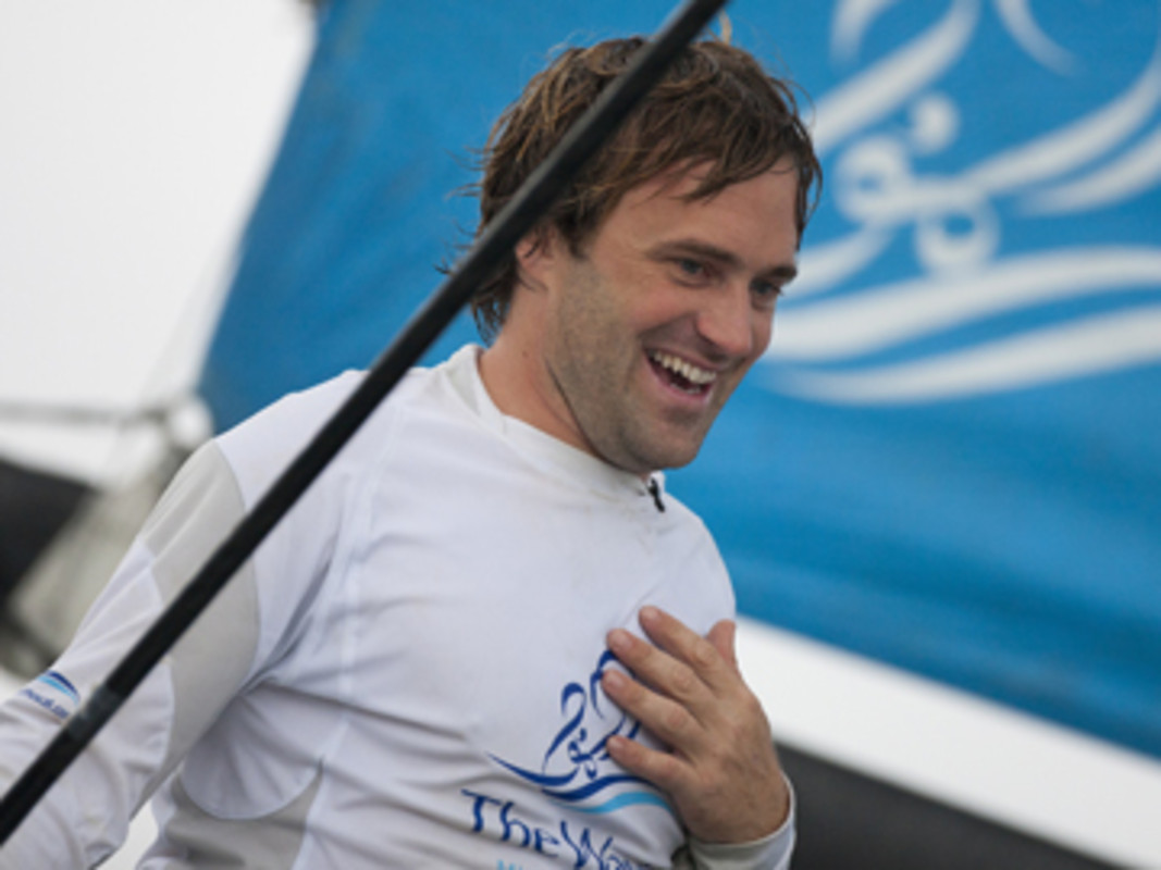 Leigh McMillan celebrates a double win - Act 8, Rio and overall 2012 Extreme Sailing Series champion