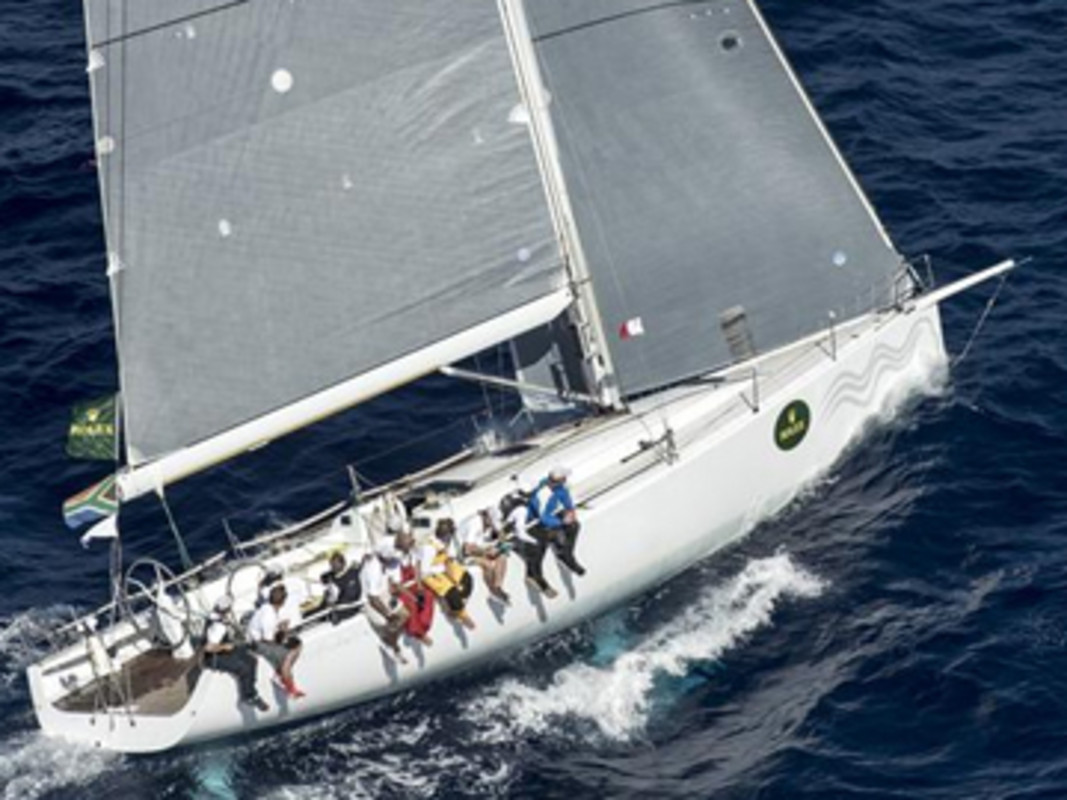 HIGH FIDELITY (RSA) sailing to win the 2012 Rolex Middle Sea Race