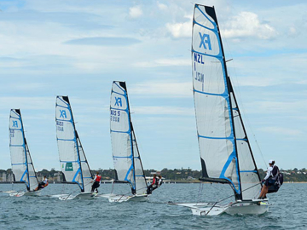 The 49erFX fleet get underway for another race