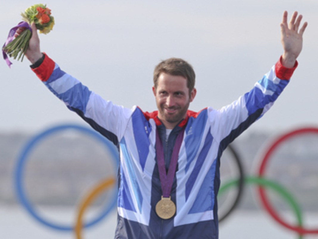 Ben Ainslie (GBR) on the top of the Olympic podium for a fourth time