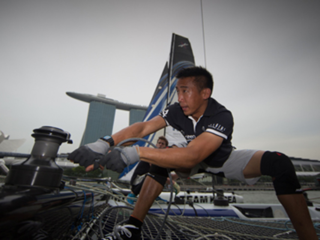 Team Aberdeen Singapore headsail trimmer Justin Wong onboard on day 1 of racing.