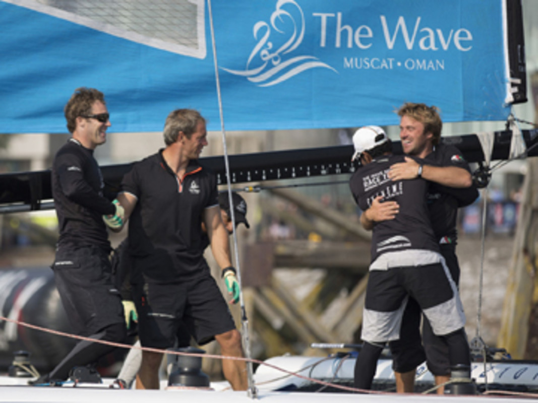 The Wave, Muscat celebrate their third consecutive Act victory and fourth win on the 2013 Extreme Sailing World Series in Cardiff