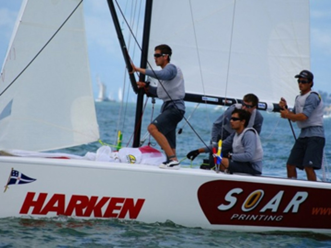 Chris Steele (RNZYS) and crew after rounding the top mark - 2012 Harken Youth International Match Racing Championships