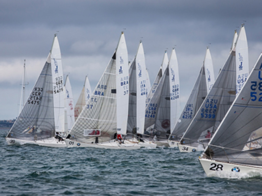 Racing commences under grey skies