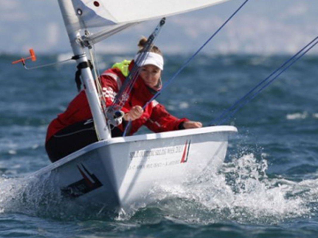 Tina Mihelic takes control at the front of the fleet