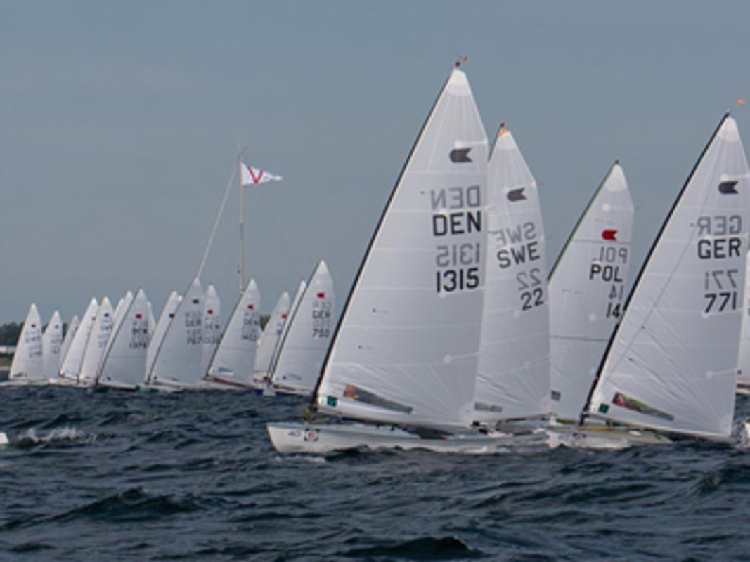 The fleet at the 2012 OK Dinghy Worlds