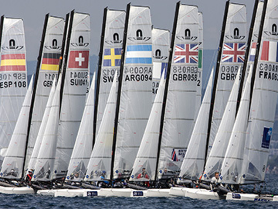 Nacra 17 fleet line up at the 2013 edition