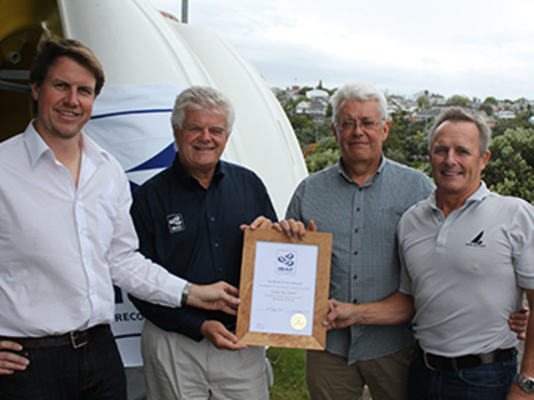 Picture: Yachting New Zealand (YNZ) Participation and Development Manager, Andrew Clouston (Left), ISAF Nominated Expert Olivier Bovyn (second from left) with YNZ President Rodger Kerr-Newell (second from right) and YNZ CEO David Abercrombie (far right).