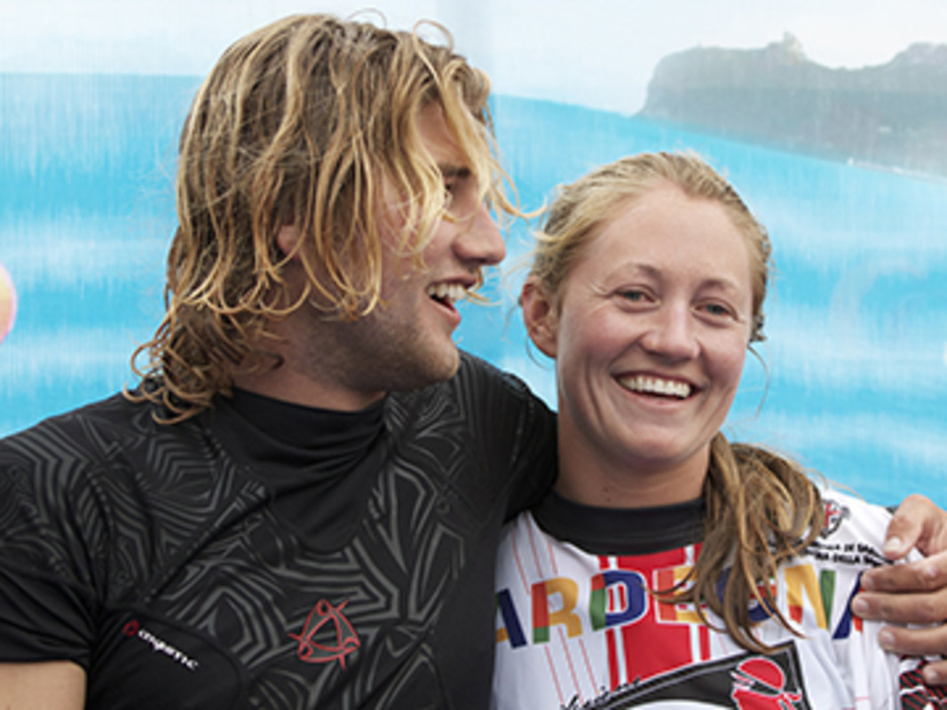 Johnny and Erika Heinken celebrate together