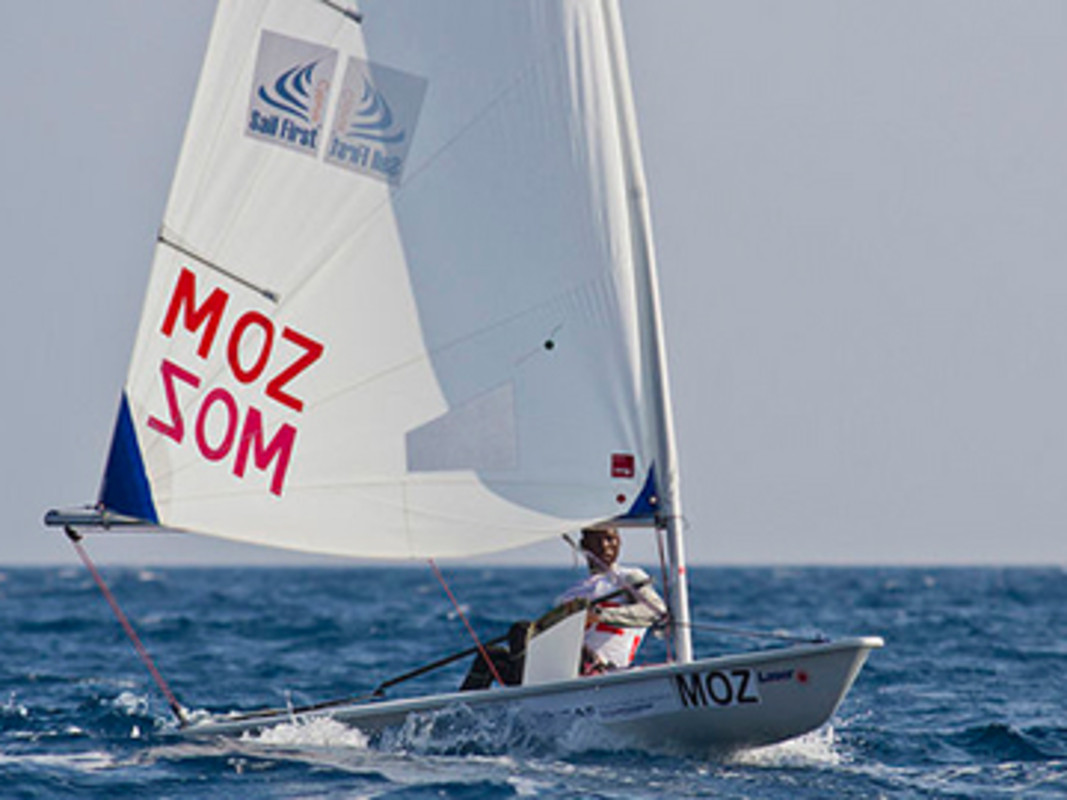 Mozambique's Velick Manhica at the 2013 ISAF Youth Worlds