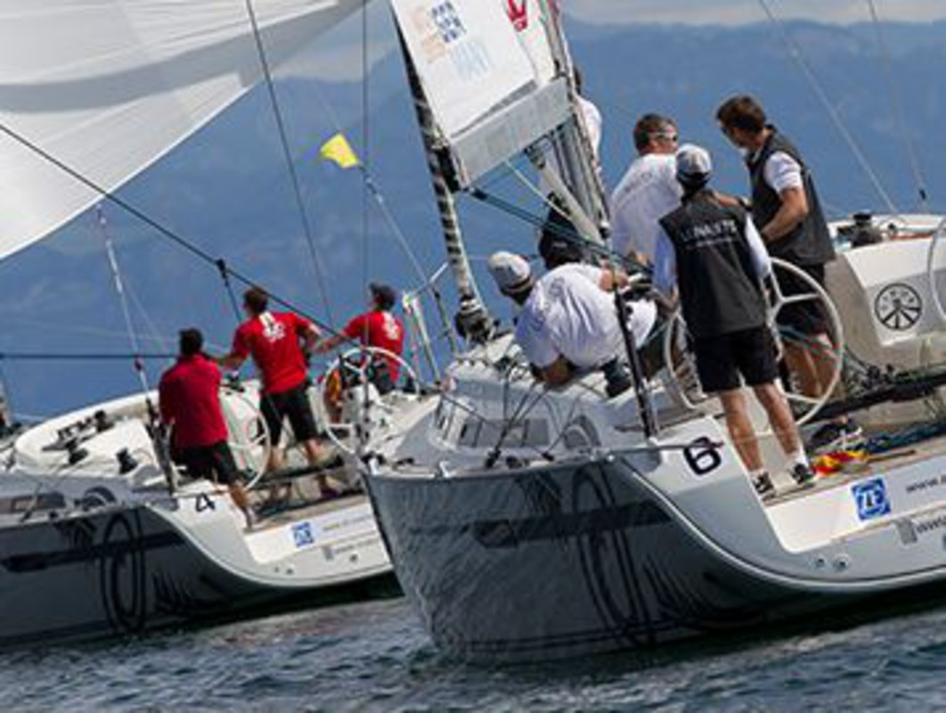 Robertson leads Richard during the Qualifying Round today at Match Race Germany
