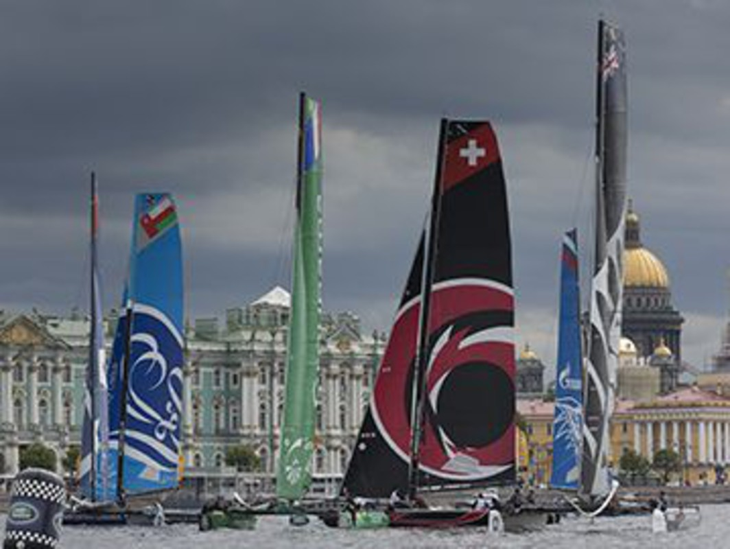 The Extreme 40 fleet race on the River Neva ahead of some of Saint Petersburg's iconic landmarks.