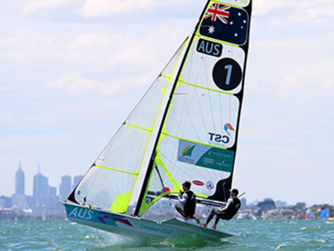 Nathan Outteridge and Iain Jensen (AUS) at the 2013 ISAF Sailing World Cup - Melbourne