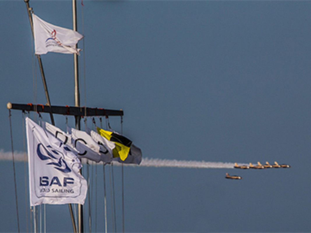 Planes fly around Abu Dhabi Sailing & Yacht Club in preparation for UAE's National Day