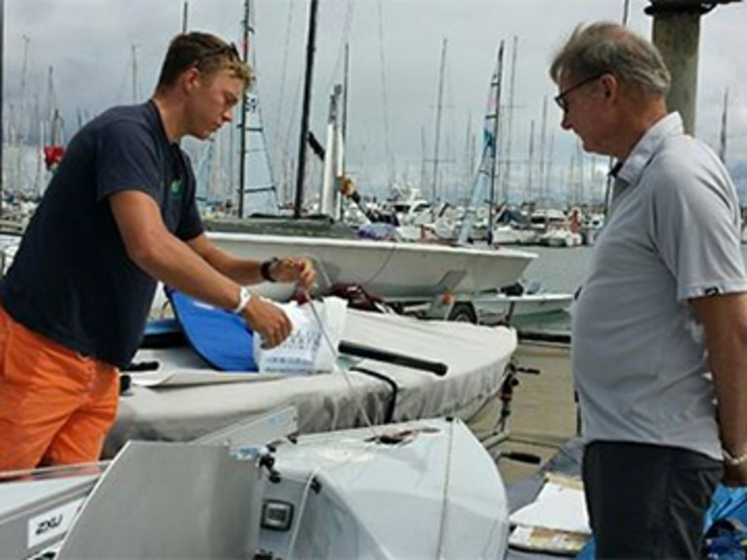 Finn Sailor Jake Lilley chats with ISAF Sailing World Cup - Sail Melbourne patron John
