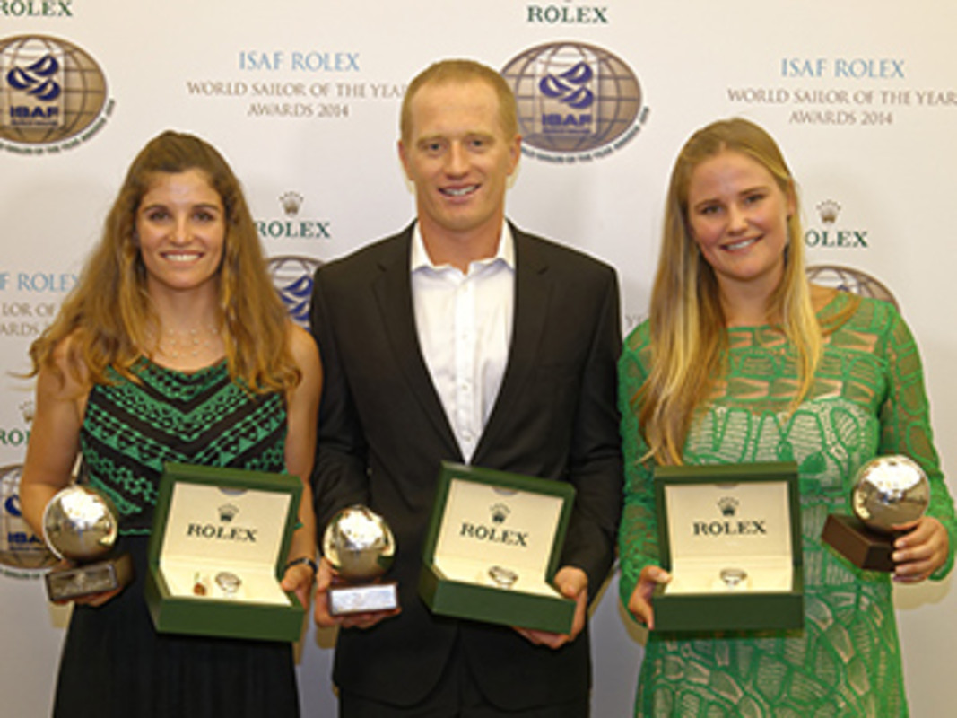 2014 ISAF Rolex World Sailors Of The Year Martine Grael (BRA), Jimmy Spithill (AUS) and Kahena Kunze (BRA) (left to right)