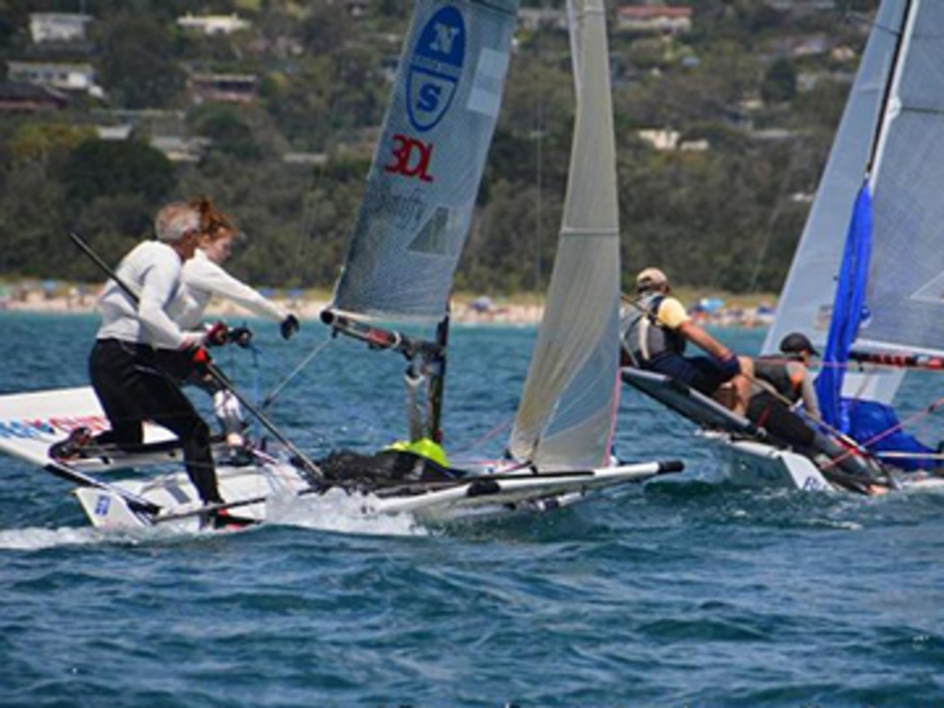 'GBR 788 Mark Barnes and Alicia Clifford chasing AUS 793 Guy Bancroft and Lachlan Imeneo