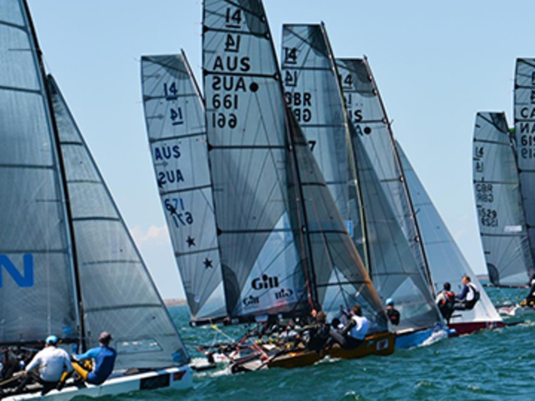 Race 4 start line with Britain's Glen Truswell (1543) to weather of Australia's Brad Devine (661)