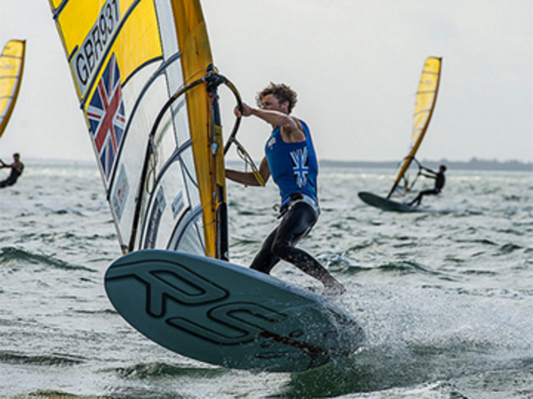 Tom Squires had a solid first day in the Men's RS:X