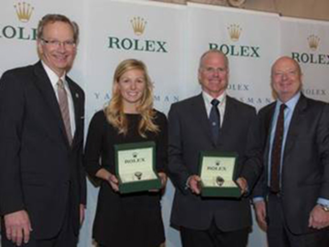 Tom Hubbell, Rolex Yachtswoman of the Year Stephanie Roble, Terry Hutchinson and Stewart Wicht, President & CEO of Rolex Watch USA