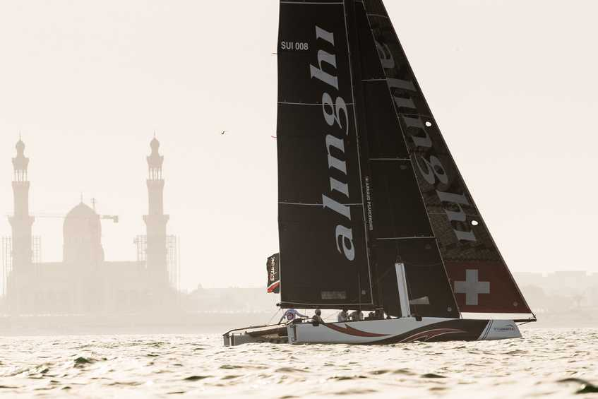 Swiss team Alinghi dominates on the first day of the 2018 Extreme Sailing Series Act 1, Muscat
