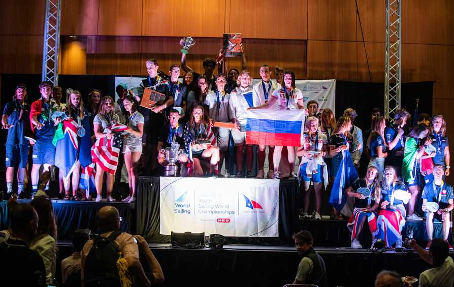 Medals and trophies presented at Youth Worlds Closing Ceremony