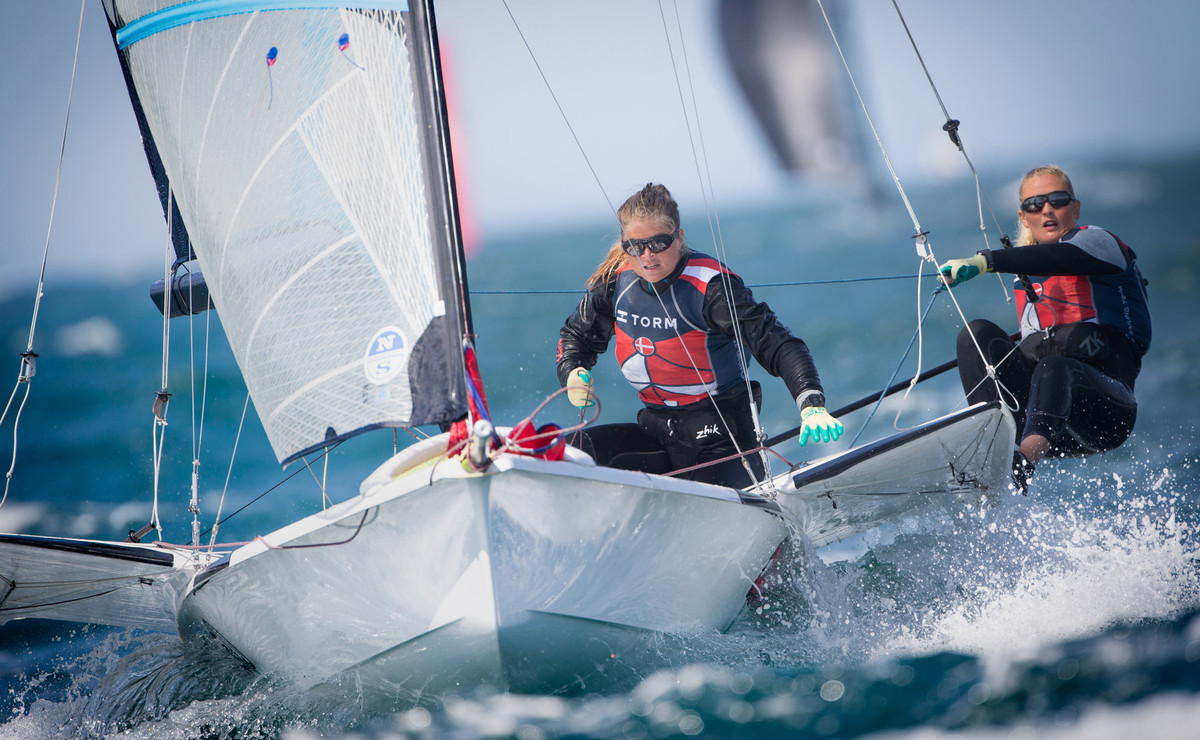 Strong winds made for seriously tricky conditions on Day Five at 49er/49erFX Worlds