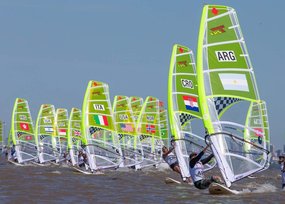 The Girl's Techno 293+ get racing underway just off San Isidro