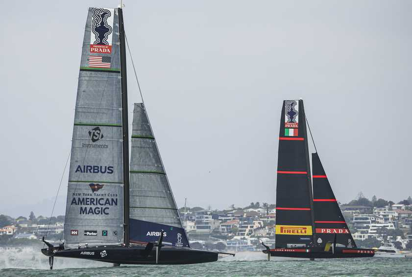 New York Yacht Club American Magic and Emirates Team New Zealand tied at three each at the PRADA ACWS Auckland