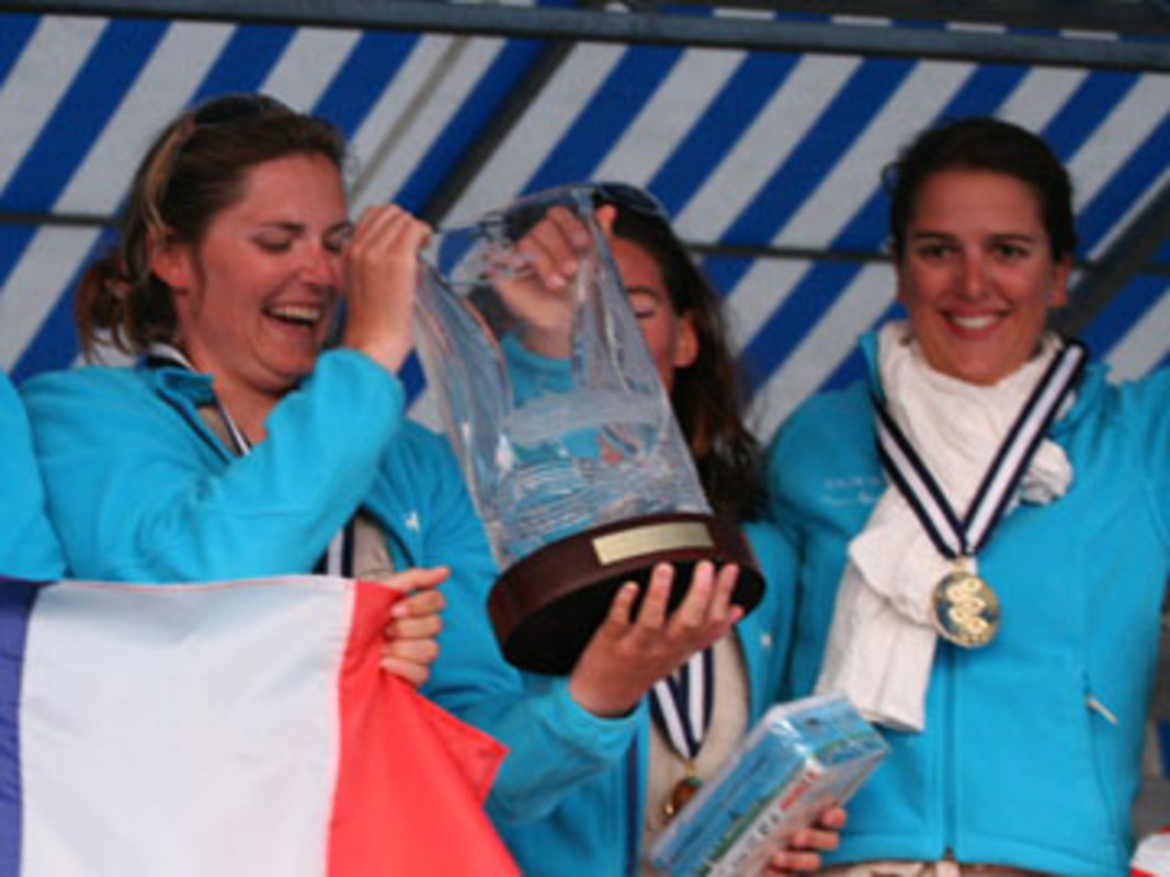 Claire LEROY with the ISAF Women's Match Racing World Championship Trophy