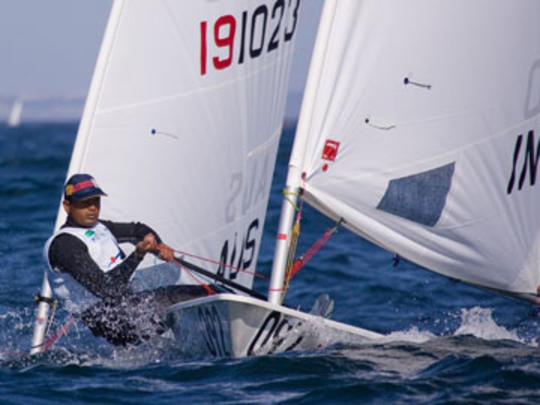 India's Rajesh CHOUDHARY in action at the ISAF Worlds in Cascais