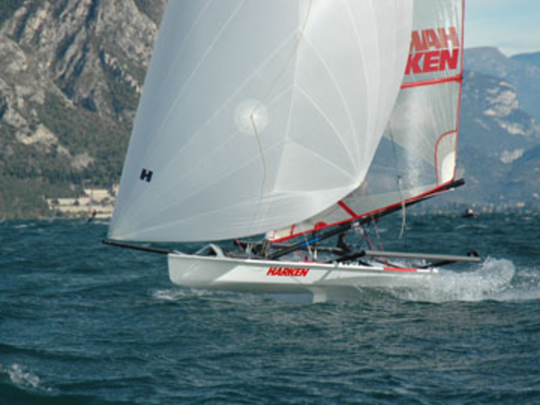 The Musto Skiff in action on Lake Garda