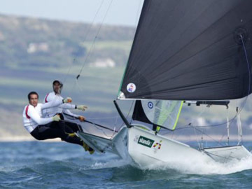 Frederico Alonso and Arturo Alonso of Spain compete in the 49er